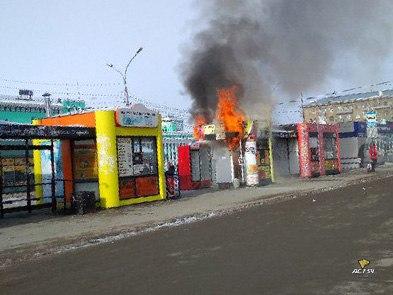 На вокзале Новосибирск-Главный сгорел киоск с фастфудом