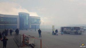 Новосибирский аэропорт Толмачево заволокло дымом