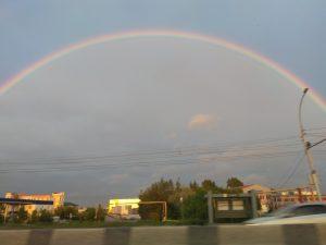 Над левобережьем Новосибирска поднялась редкая радуга
