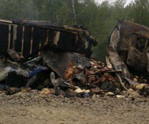 Водитель грузовика сгорел при ДТП с фурой в Новосибирской области