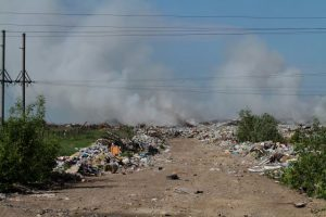 В Новосибирске загорелась мусорная свалка за Хилокским рынком