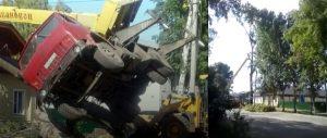 Крановщик из Болотного «уронил» дерево на здание