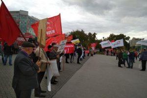 Новосибирцы снова вышли на митинг против повышения пенсионного возраста