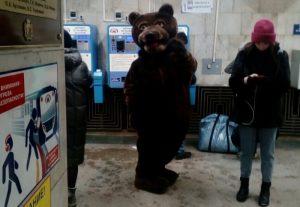 Медведь хотел проехать зайцем в метро Новосибирска