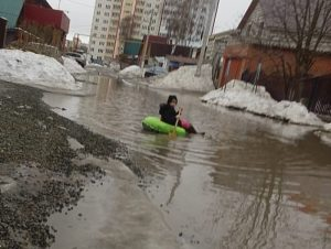 В Новосибирске девочка на «ватрушке» переплыла улицу
