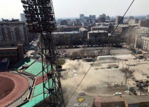 В Новосибирске загорелся стадион «Спартак»