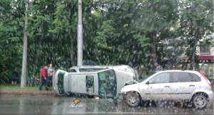 ДТП с переворотом в Калининском районе — столкнулись три авто