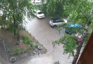 Ливень затопил город Обь под Новосибирском