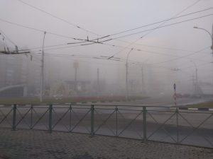 Густой серый туман окутал Новосибирск