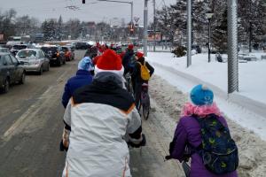 Велопробег Дедов Морозов прошел в центре Новосибирска