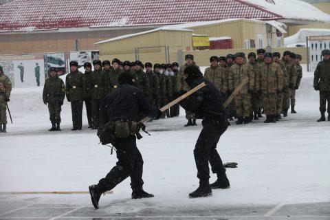 В параде в Новосибирске в честь Дня защитника отечества приняли участие школьники