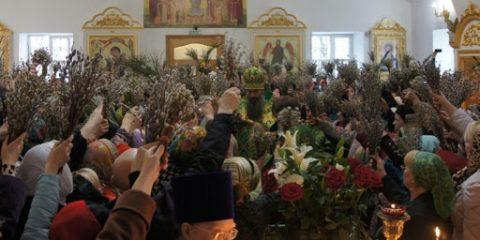 В храмы Новосибирска пришли тысячи людей, чтобы освятить вербы