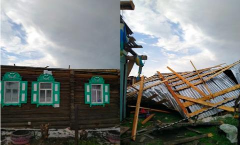 В Новосибирской области мощный ураган обрушился на село