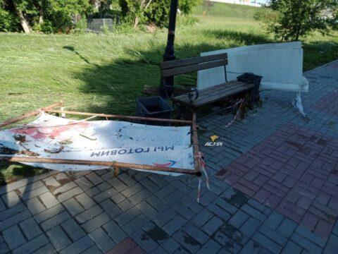 Сильный ливень разрушил набережную в Новосибирске