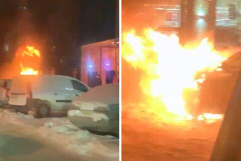 BMW загорелся в центре Новосибирска - огонь тушили снегом