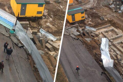 На подземной парковке в Новосибирске рухнула бетонная стена