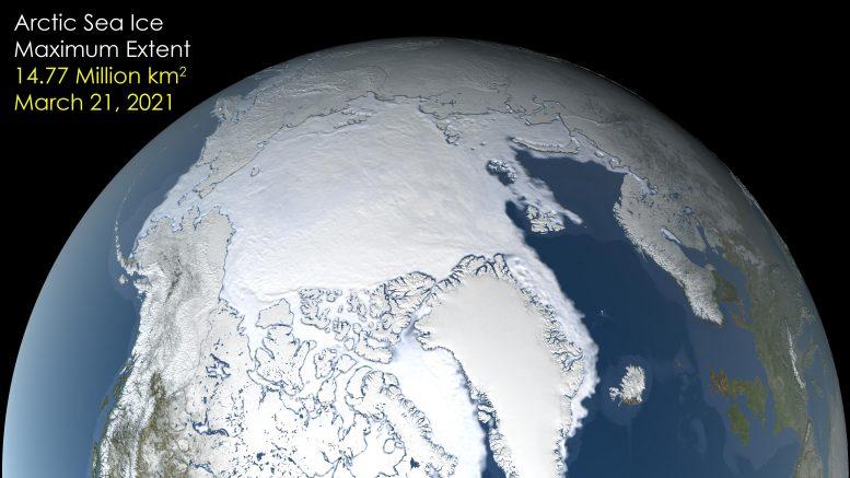 Максимальная протяженность морского льда в Арктике в 2021 году занимает седьмое место в списке самых низких рекордов